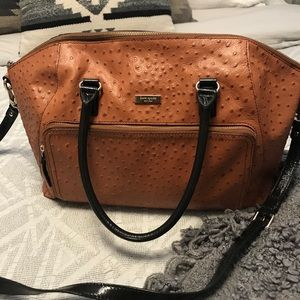 Kate Spade Leather Ostrich-Print Weekender